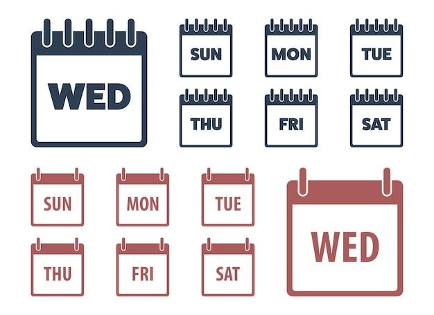 Ilustração do projeto do vetor dos ícones do calendário isolada no fundo branco