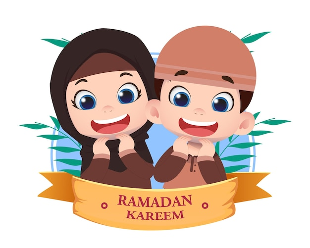 Ilustração do projeto ramadhan com personagens infantis fofinhos