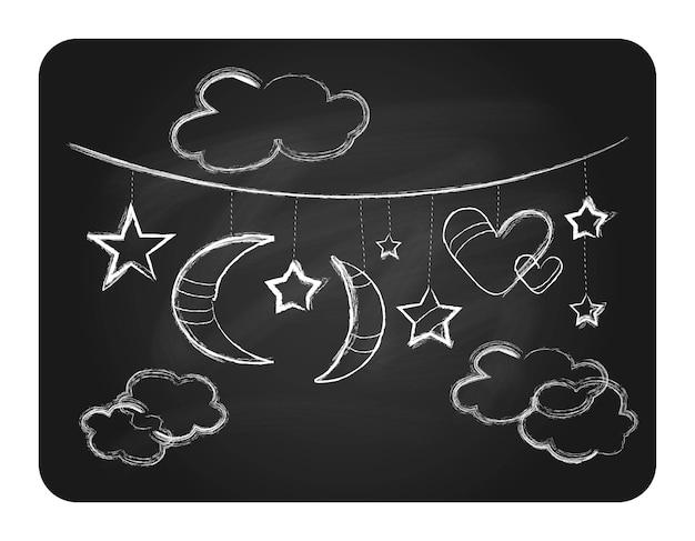 Ilustração do quadro-negro com nuvens brancas, lua e estrelas
