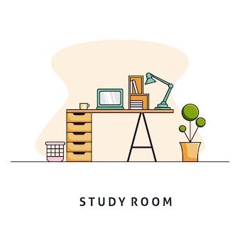Ilustração do quarto de estudo