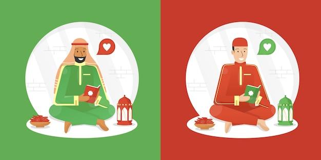 Ilustração do ramadã com homem muçulmano, lendo o alcorão