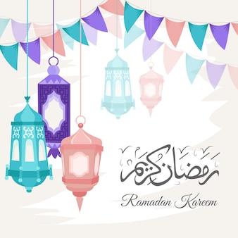 Ilustração do ramadan kareem desenhada à mão
