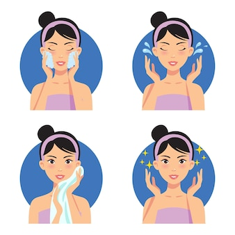 Ilustração do regime de beleza para limpeza de rosto e cuidados com a pele
