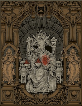 Ilustração do rei satanás em estilo de ornamento de gravura gótica
