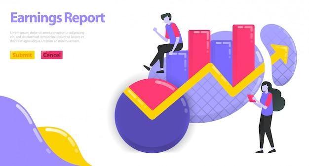 Ilustração do relatório de ganhos. aumentar a receita de negócios e empresas. gráfico e gráfico de pizza para estatísticas.