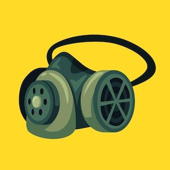 Ilustração do respirador com máscara de gás