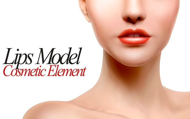 Ilustração do retrato do modelo dos lábios