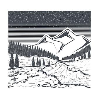 Ilustração do rio e montanha