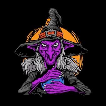 Ilustração do ritual de bruxa