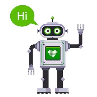 Ilustração do robô acenando com a mão e dizendo oi