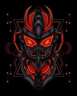 Ilustração do robô com cabeça vermelha com chifre