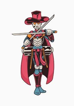 Ilustração do robô samurai com chapéu vermelho