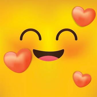 Ilustração do rosto bonito amor. emoji, smiley - ilustração. emoticons de desenhos animados com amor.