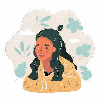 Ilustração do rosto de menina bonita