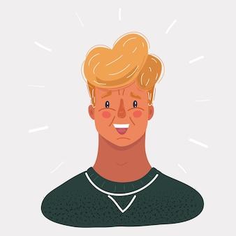 Ilustração do rosto do jovem em branco backround.