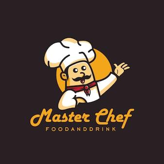 Ilustração do rosto feliz de mestre cozinheiro com bigode no logotipo do círculo. design estilo cartoon cor cheia.