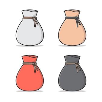 Ilustração do saco amarrado. sack flat. bolsa