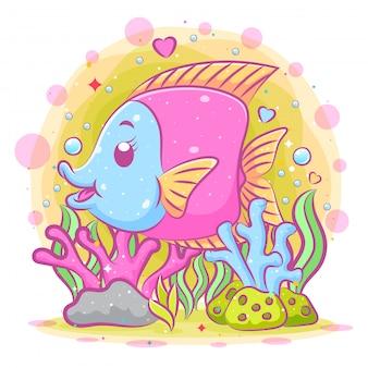 Ilustração do samário colorido no fundo do mar