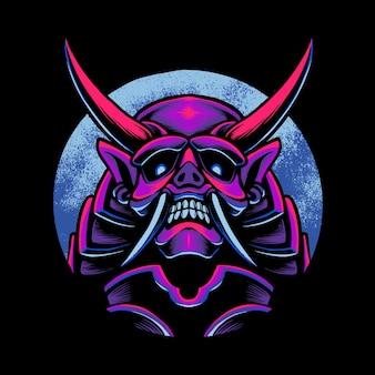 Ilustração do samurai do diabo japonês