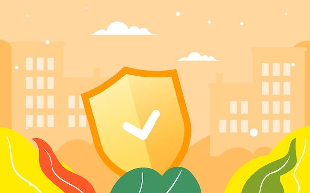 Ilustração do seguro de saúde da família pôster de garantia do segurança da família