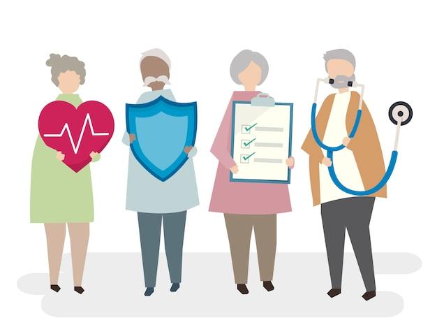 Ilustração do seguro de vida adulta sênior
