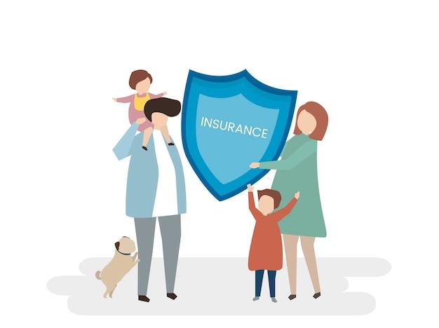 Ilustração do seguro de vida familiar