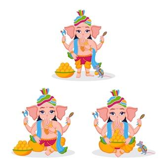 Ilustração do senhor ganesha definida para o festival indiano de ganesha chaturthi premium vector