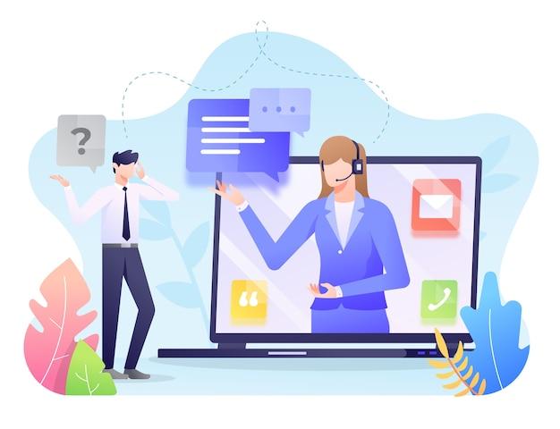Ilustração do serviço ao cliente, pessoa que pergunta sobre um produto.