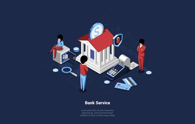 Ilustração do serviço bancário em fundo azul escuro com três caracteres.