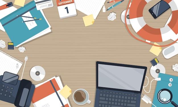 Ilustração do serviço de atendimento ao cliente empresarial, vista superior