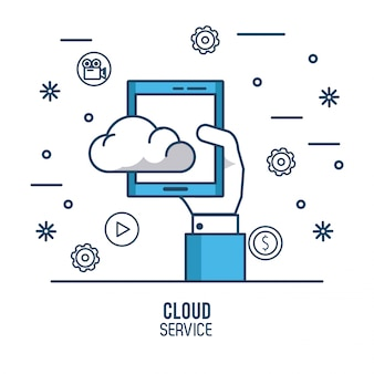 Ilustração do serviço de computação em nuvem