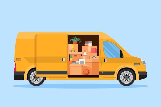 Ilustração do serviço de entrega. mudança de casa.