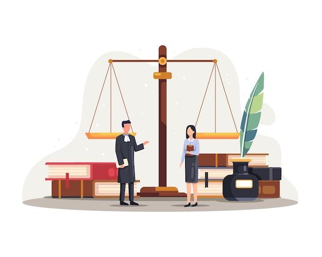 Ilustração do serviço de justiça de direito legal. conceito de direito e justiça com personagens e elementos judiciais. ilustração vetorial em estilo simples