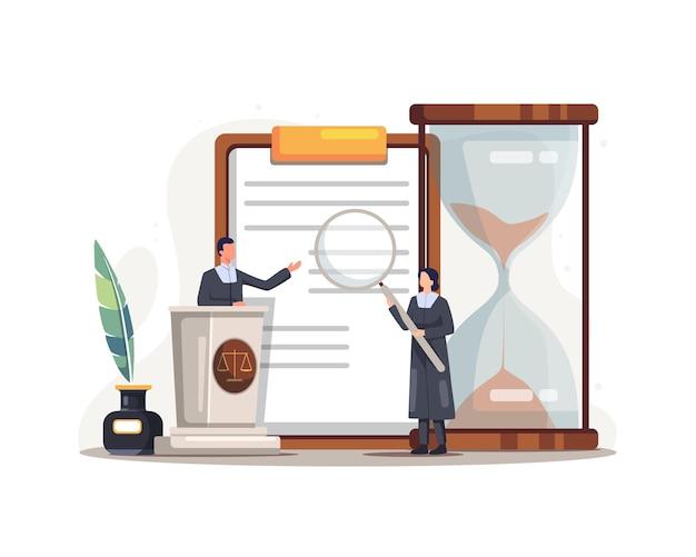Ilustração do serviço de justiça de direito legal. conceito de lei de acordo comercial do sistema judicial de regulamentação legal. vetor em um estilo simples