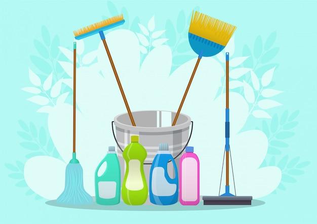 Ilustração do serviço de limpeza. modelo de pôster para serviços de limpeza doméstica com várias ferramentas de limpeza