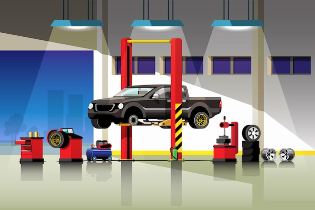 Ilustração do serviço de reparo e manutenção de automóveis.