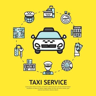 Ilustração do serviço de táxi