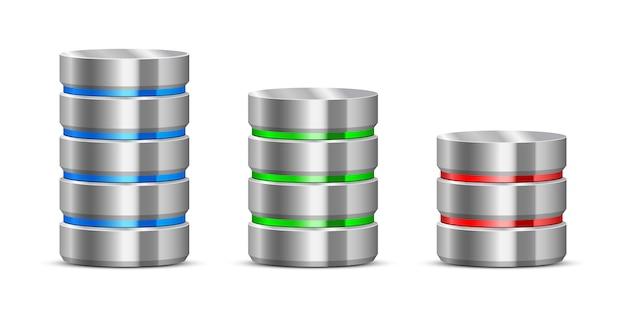 Ilustração do servidor de dados no fundo branco