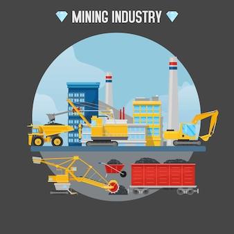 Ilustração do setor de mineração.