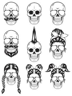 Ilustração do símbolo da silhueta do crânio na cor preta