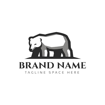 Ilustração do símbolo do logotipo de caminhada de urso vintage