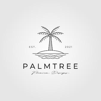 Ilustração do símbolo minimalista do logotipo da arte da linha da palmeira