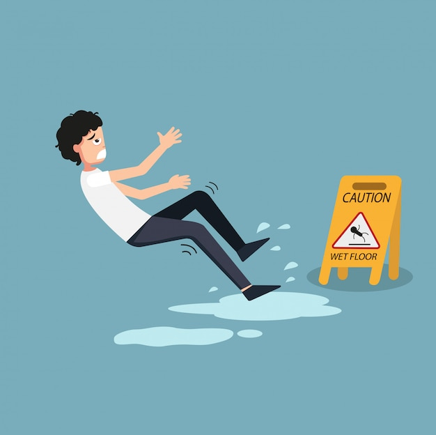 Ilustração do sinal molhado isolado do cuidado do assoalho. perigo de escorregar
