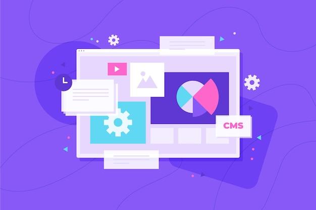 Ilustração do sistema de gerenciamento de conteúdo de design plano