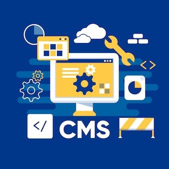 Ilustração do sistema de gerenciamento de conteúdo Vetor Premium