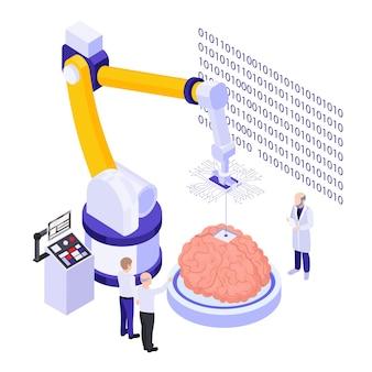 Ilustração do sistema de instalação do chip cerebral totalmente automatizado