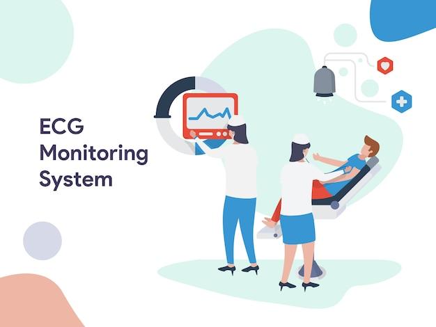 Ilustração do sistema de monitoramento de ecg