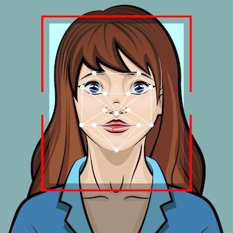 Ilustração do sistema de reconhecimento facial. conceito de identificação de segurança biométrica