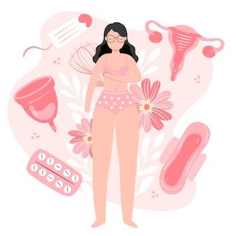 Ilustração do sistema reprodutivo feminino