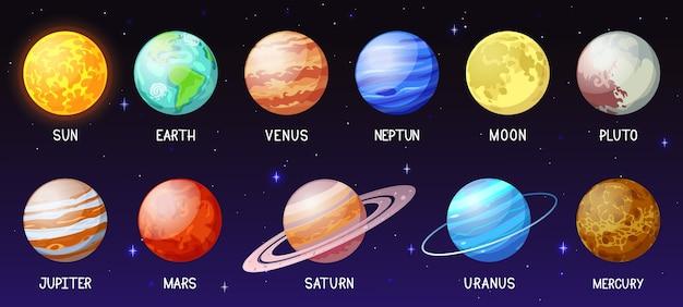 Ilustração do sistema solar de desenho animado